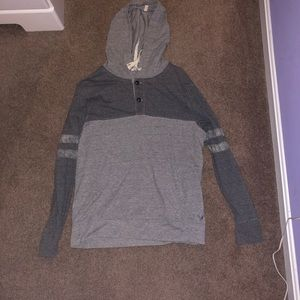 American Eagle grey button up hoodie